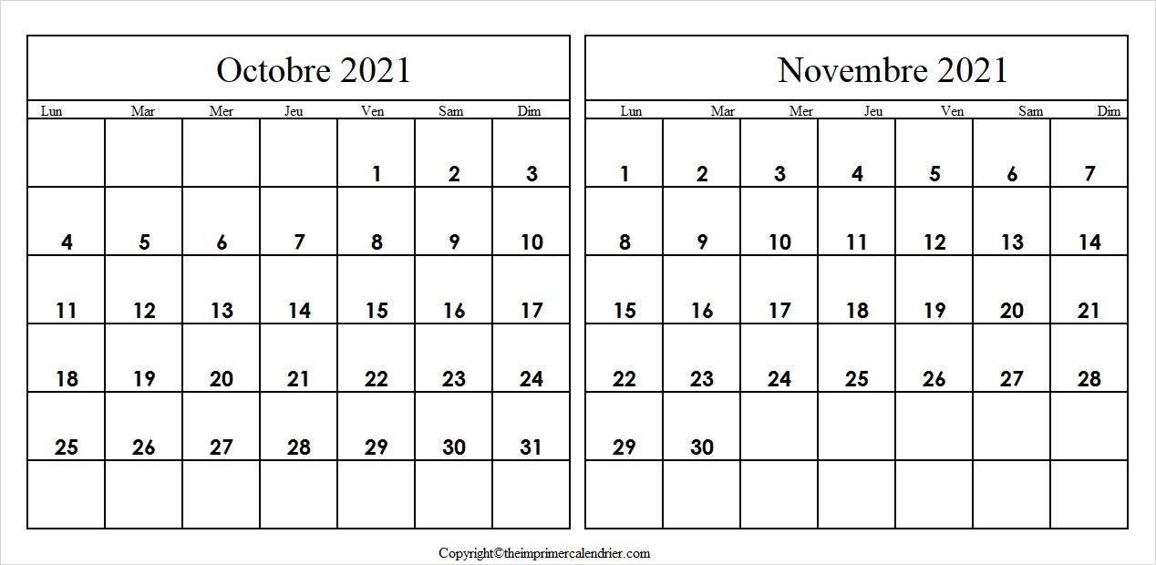 Calendrier Octobre Novembre 2021