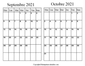 Calendrier Septembre Octobre 2021
