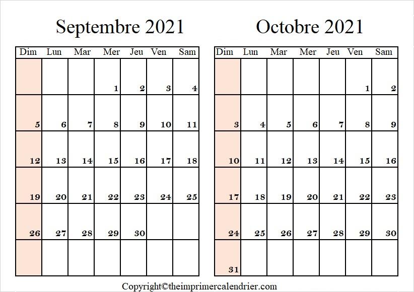 Calendrier Septembre Octobre 2021 à imprimer