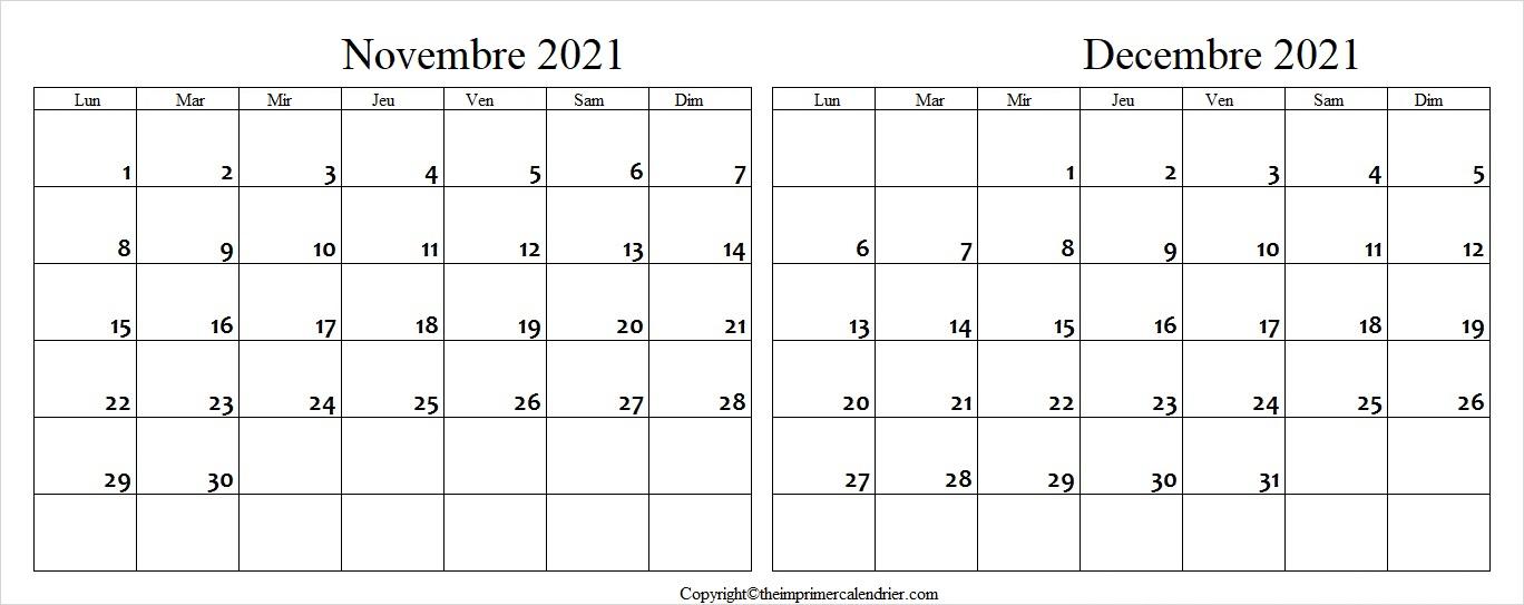 Novembre Decembre 2021 Calendrier PDF