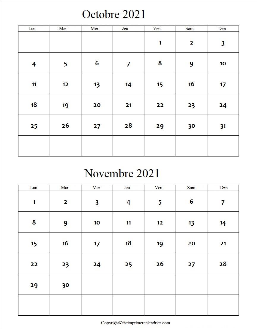 Octobre Novembre 2021 Calendrier PDF