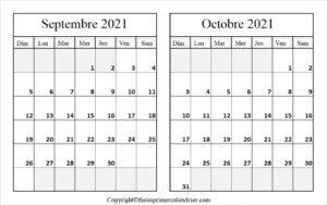 Septembre Octobre 2021 Calendrier PDF