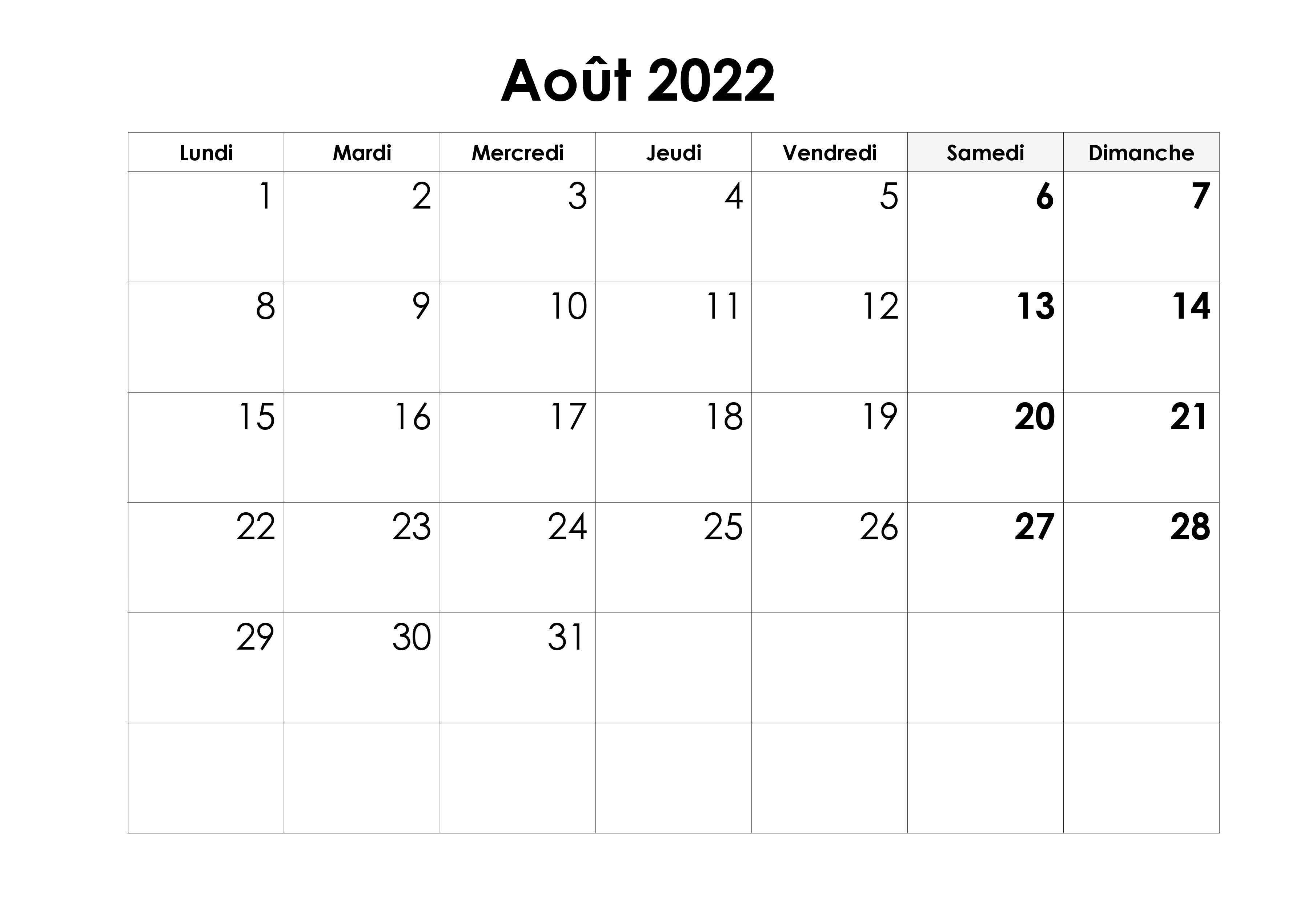 2022 Calendrier Août