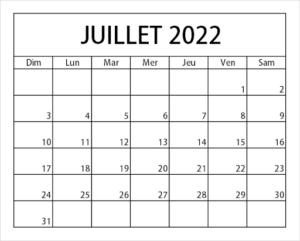 2022 Calendrier Juillet