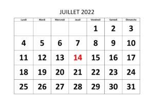 2022 Calendrier Juillet jours fériés