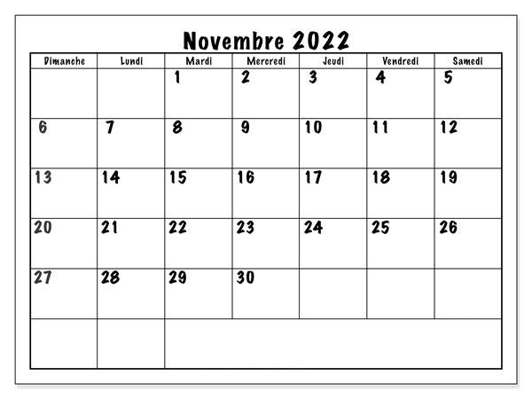 2022 Calendrier Novembre
