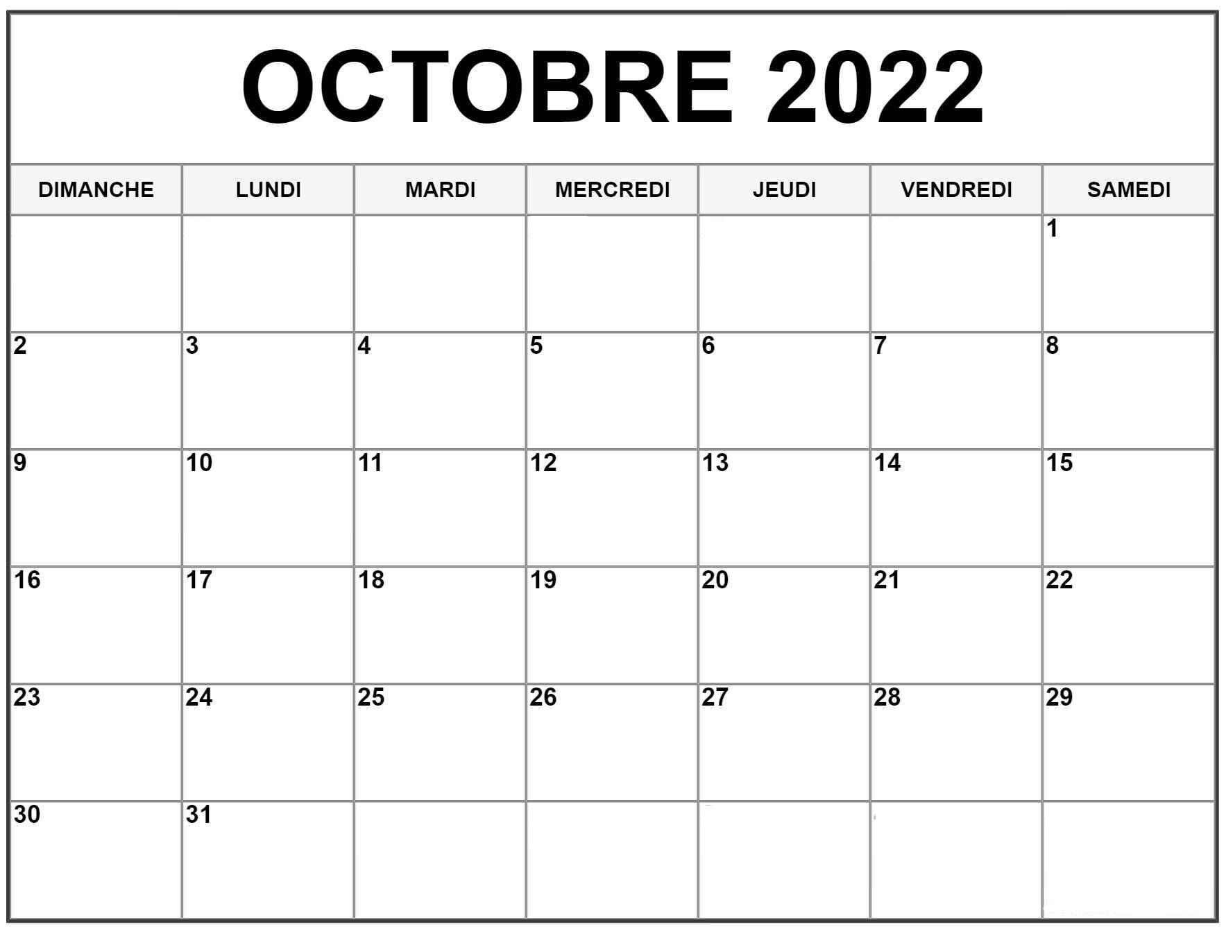 2022 Calendrier Octobre