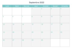 2022 Calendrier Septembre