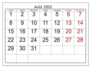 Août Calendrier 2022