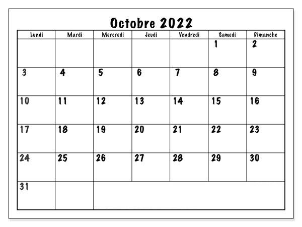 Calendrier 2022 Octobre PDF