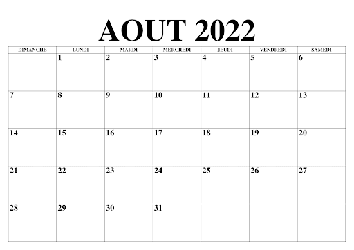 Calendrier Août 2022 Jours Fériés