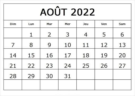 Calendrier Août 2022 PDF