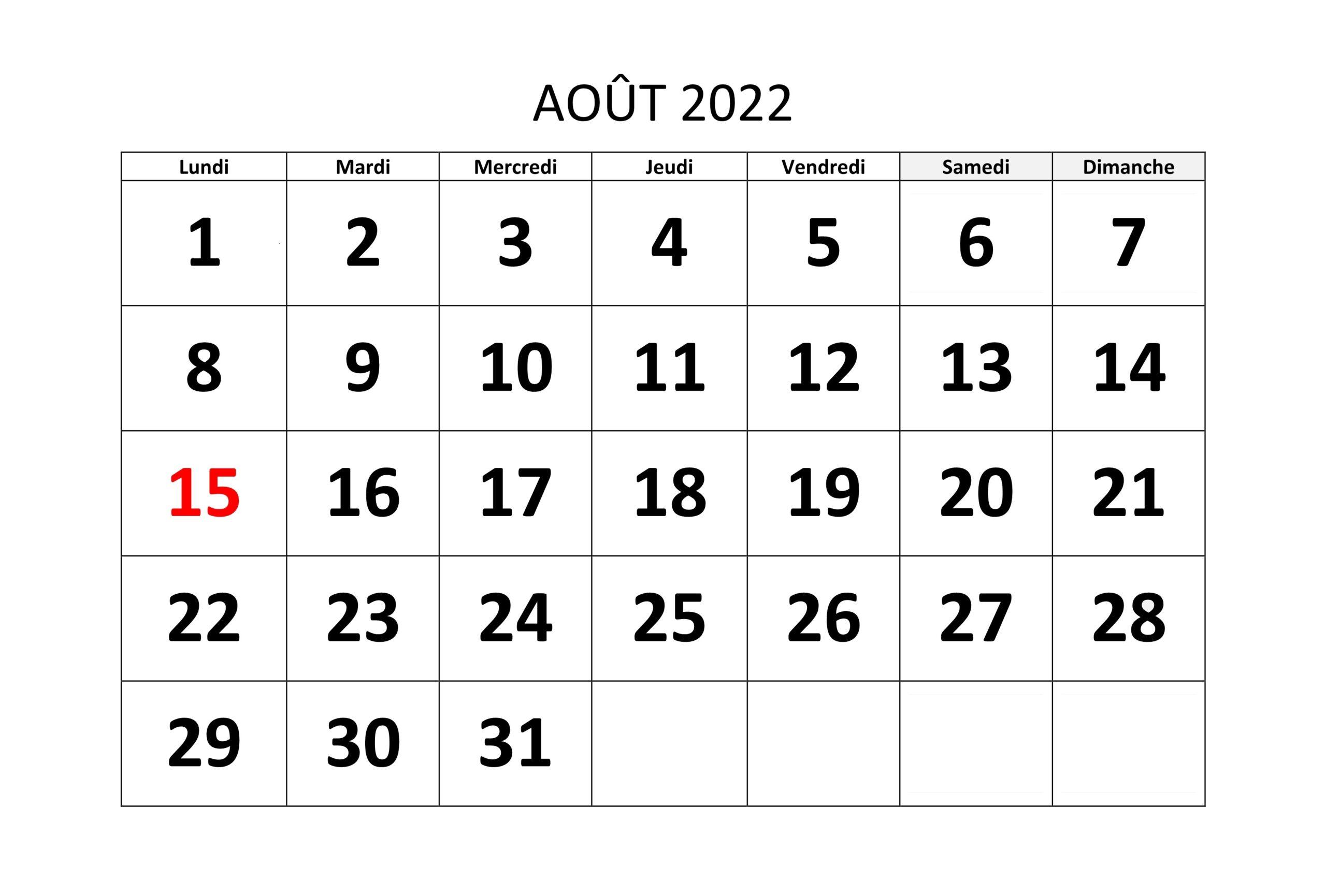 Calendrier Août2022 Vacances