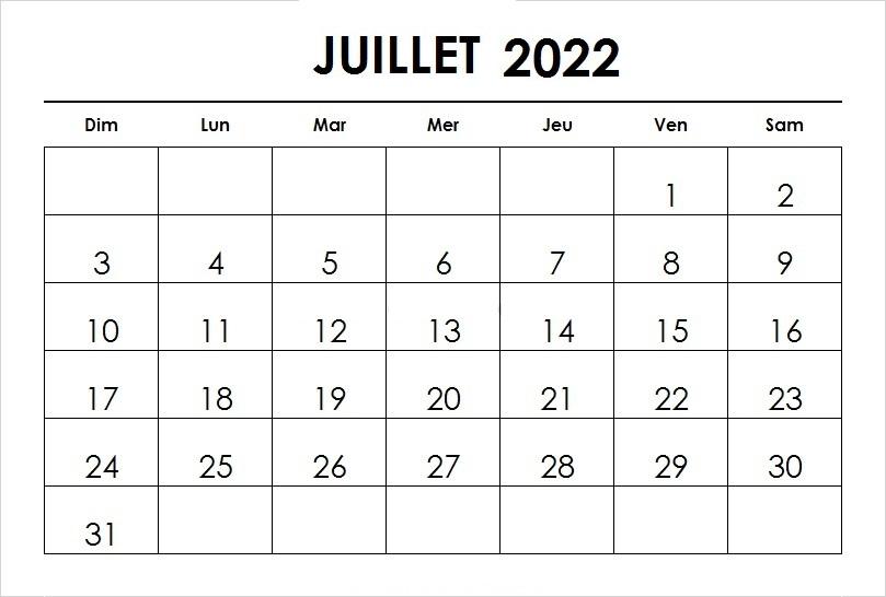 Calendrier Juillet 2022 PDF