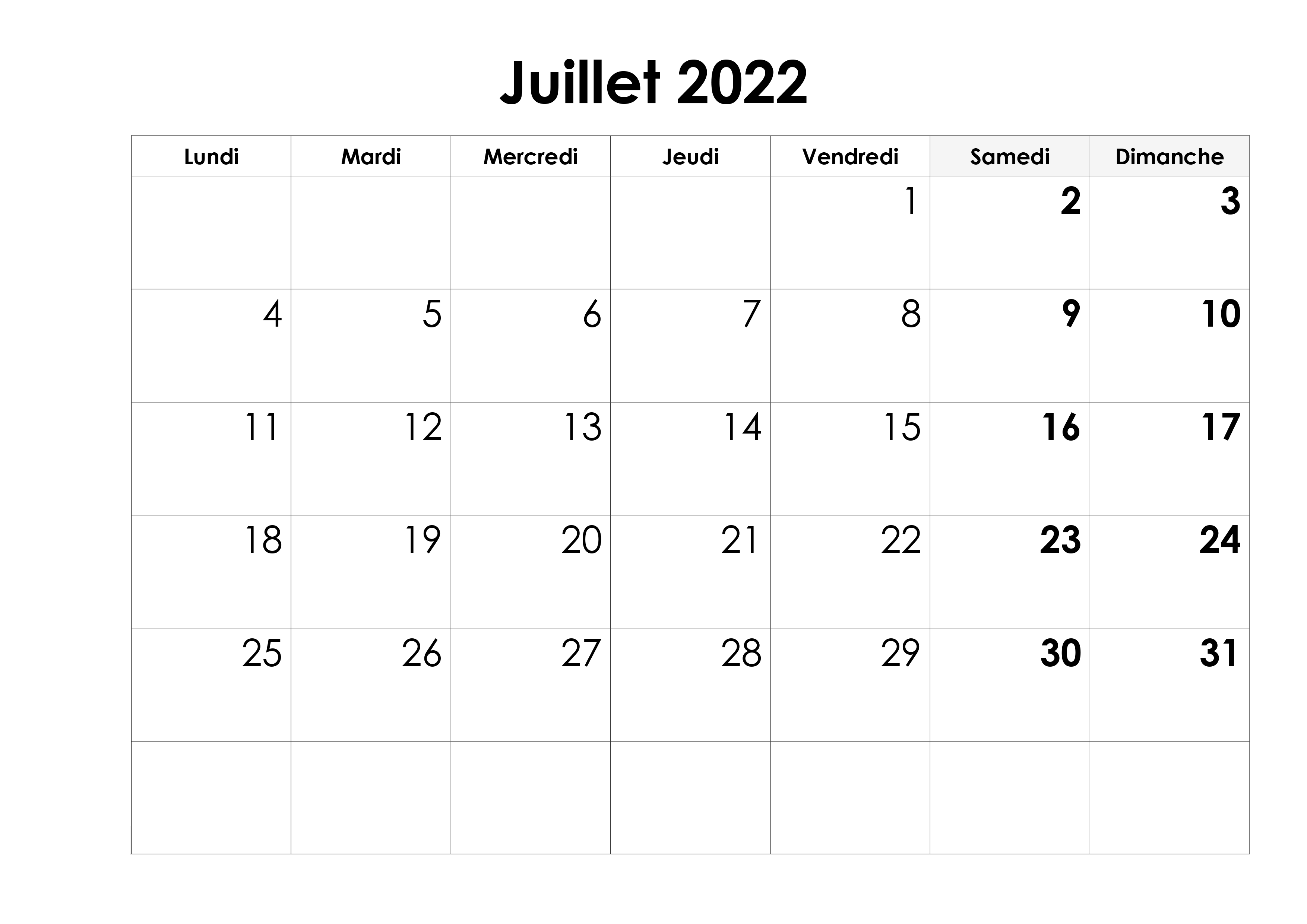 Calendrier Juillet Mensuel 2022