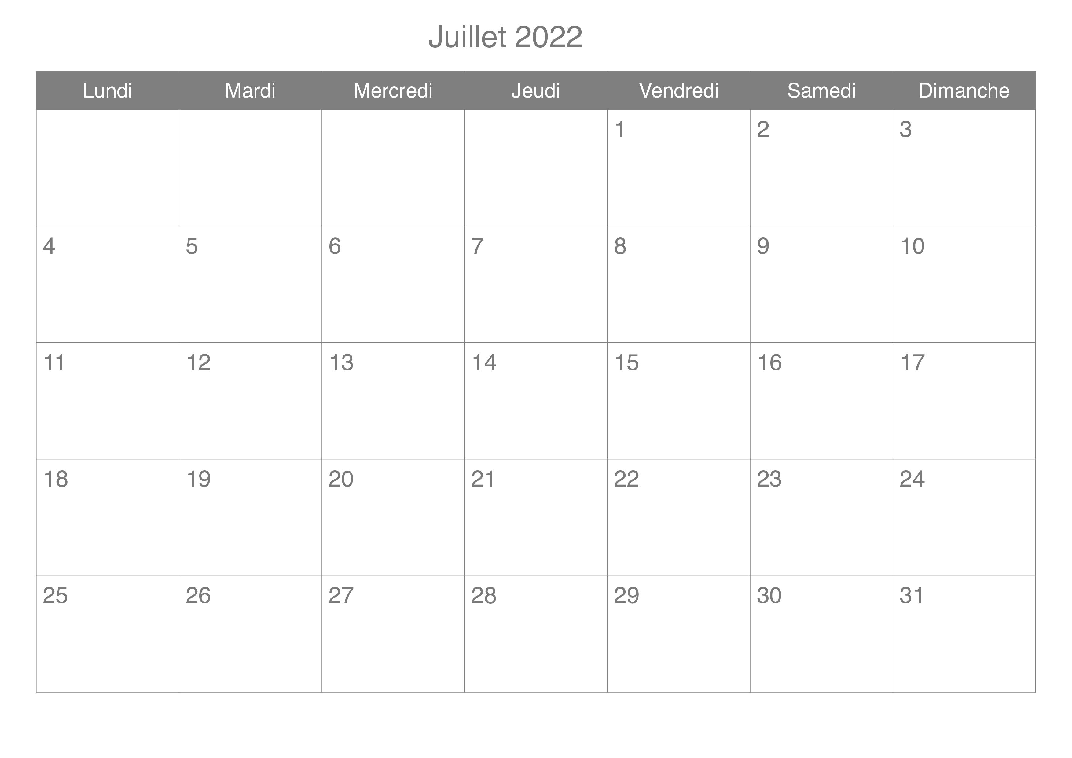 Calendrier Juillet Vacances 2022