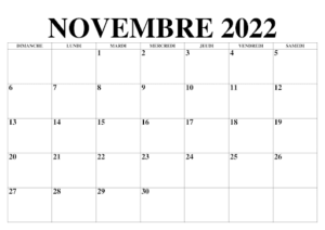 Calendrier Novembre 2022 Mensuel
