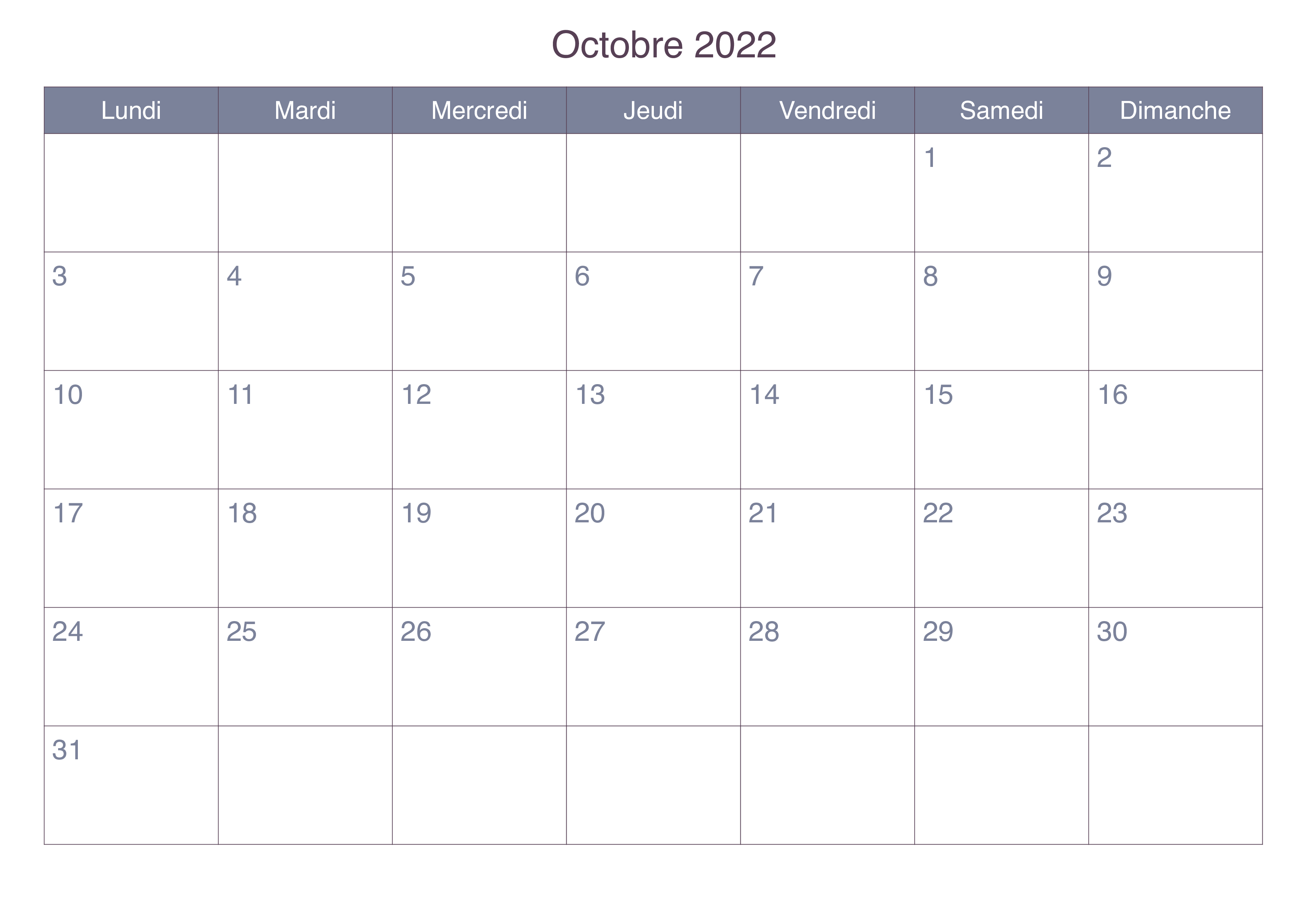 Calendrier Octobre 2022 Mensuel