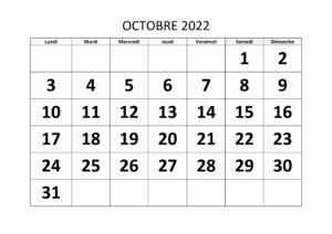 Calendrier Octobre Vacances 2022