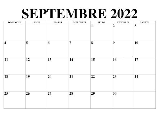 Calendrier Septembre 2022 Jours Fériés
