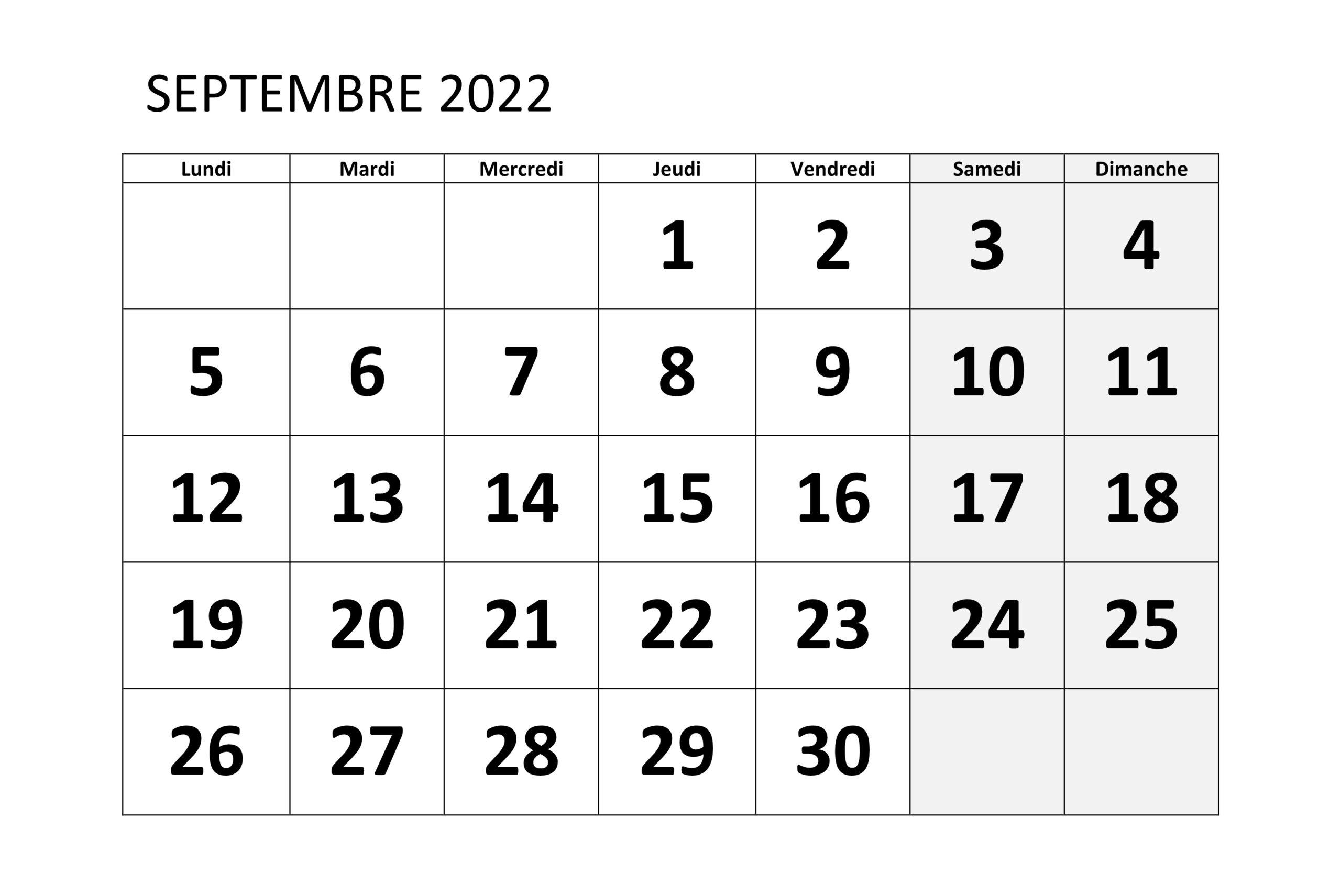 Calendrier Septembre 2022 Mensuel