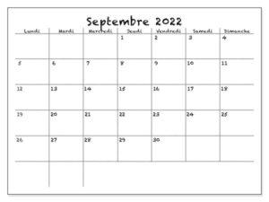 Calendrier Septembre 2022 PDF