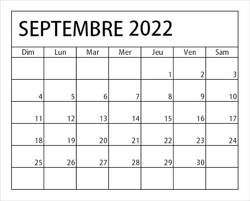 Calendrier Septembre 2022 Vacances
