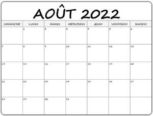Calendrier août 2022 Mensuel