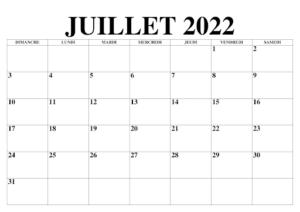 Juillet 2022 Calendrier