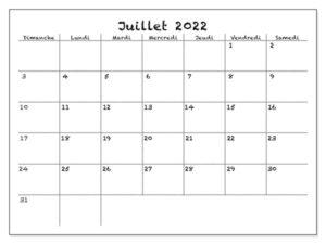 Juillet Calendrier 2022