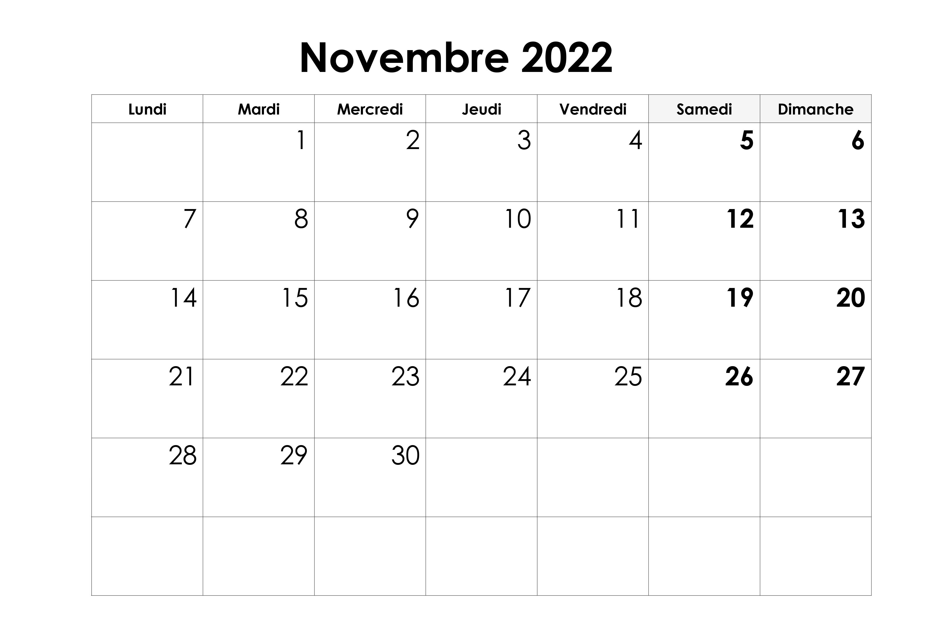 Novembre 2022 Calendrier PDF