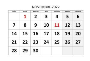 Novembre 2022 Calendrier jours fériés
