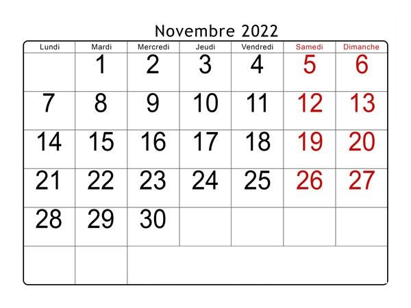 Novembre 2022 Calendrier