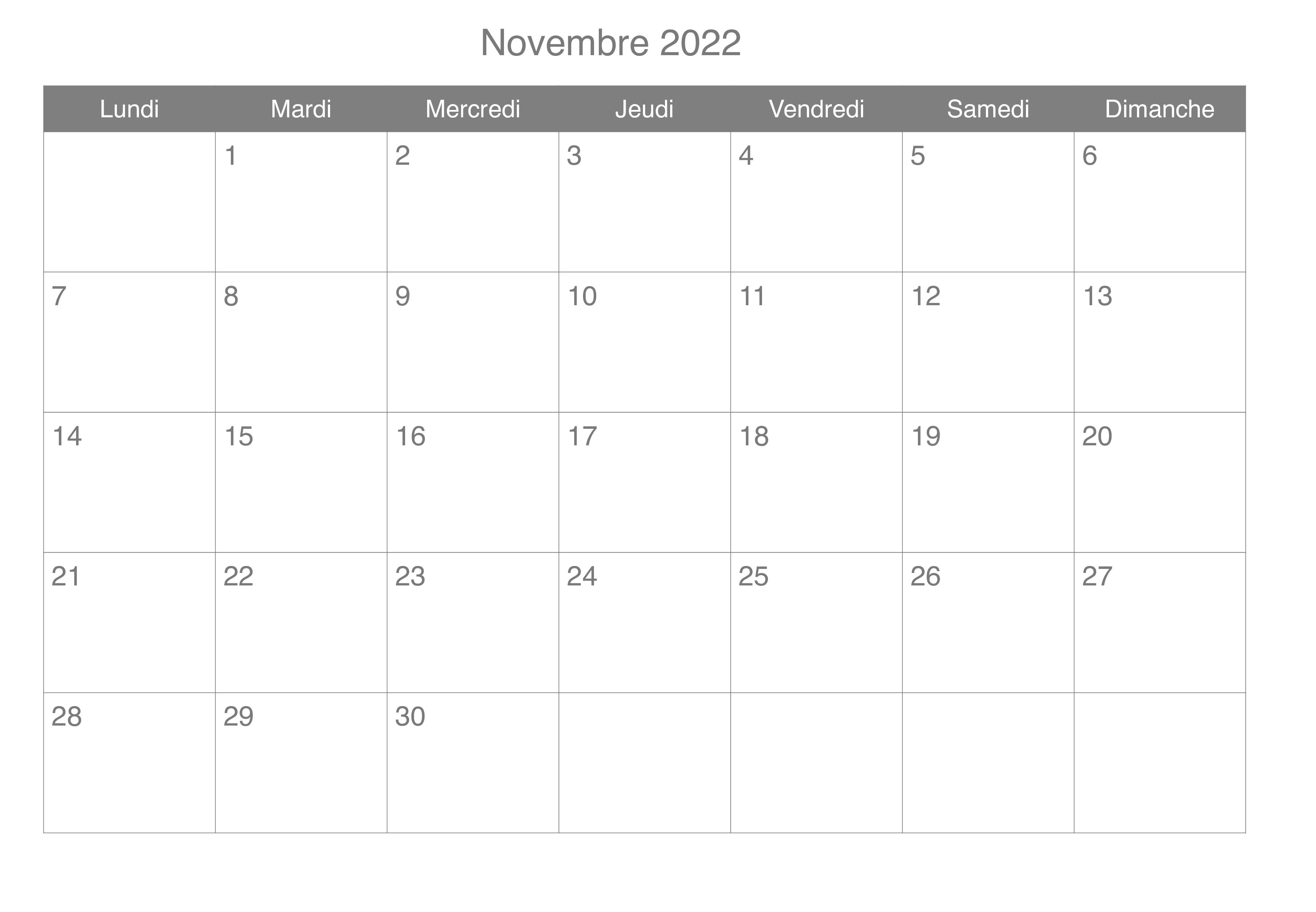 Novembre Vacances 2022 Calendrier