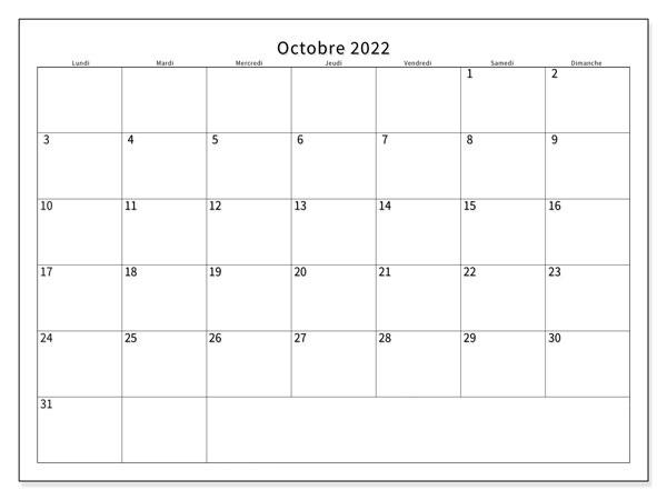 Octobre 2022 Calendrier