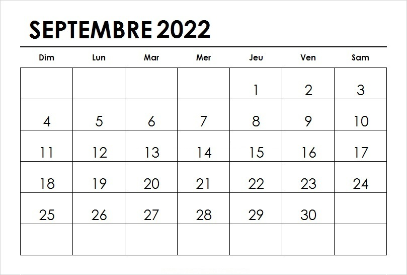Septembre 2022 Calendrier