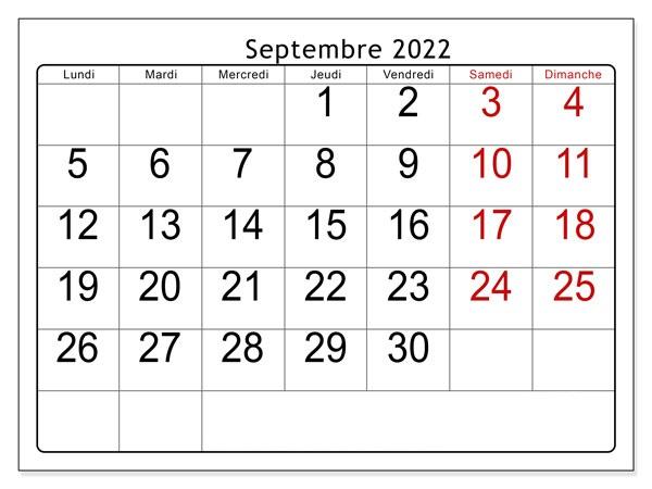 Septembre Calendrier 2022