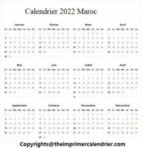 Calendrier 2022 Maroc en Arabe