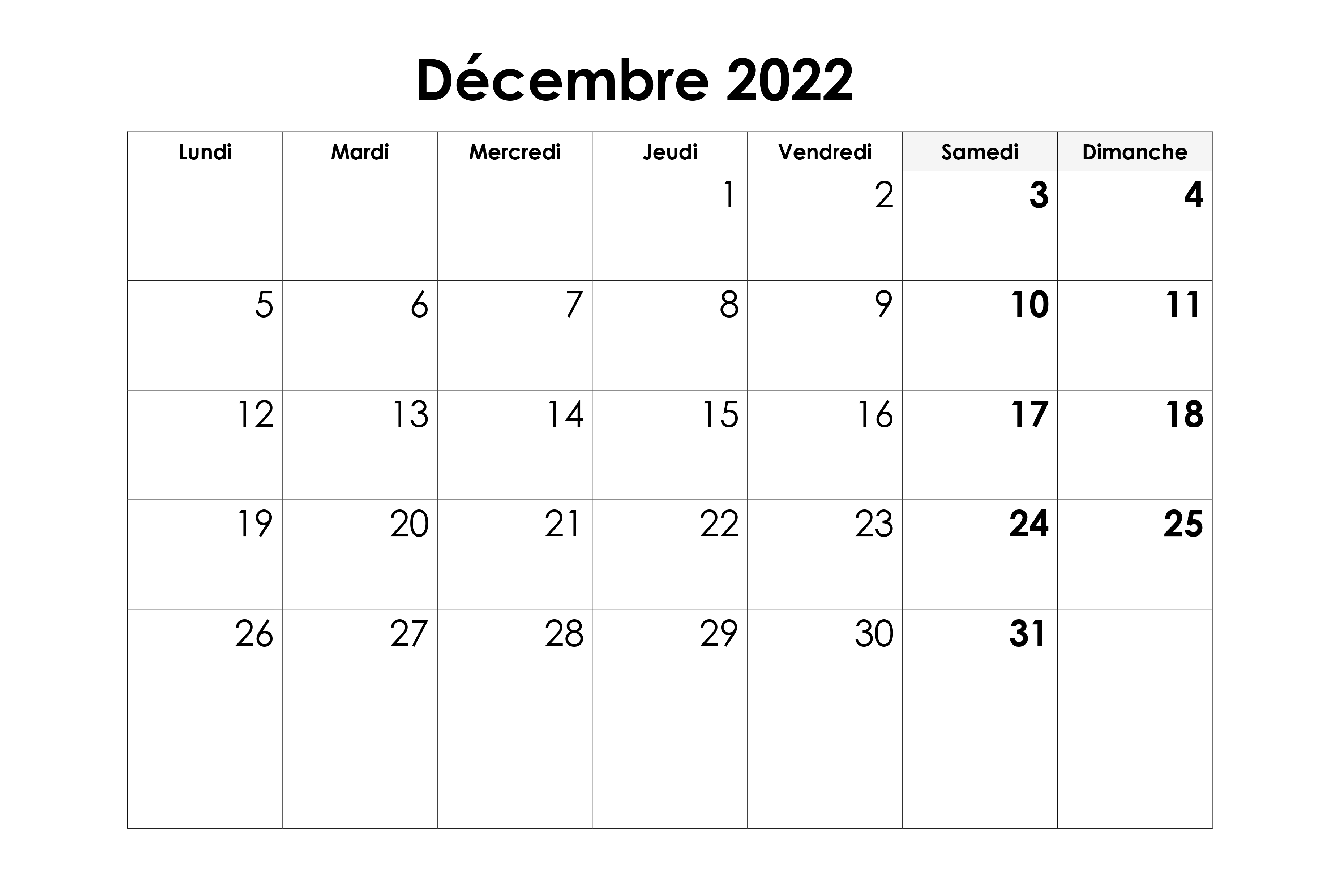 Calendrier 2022 Decembre