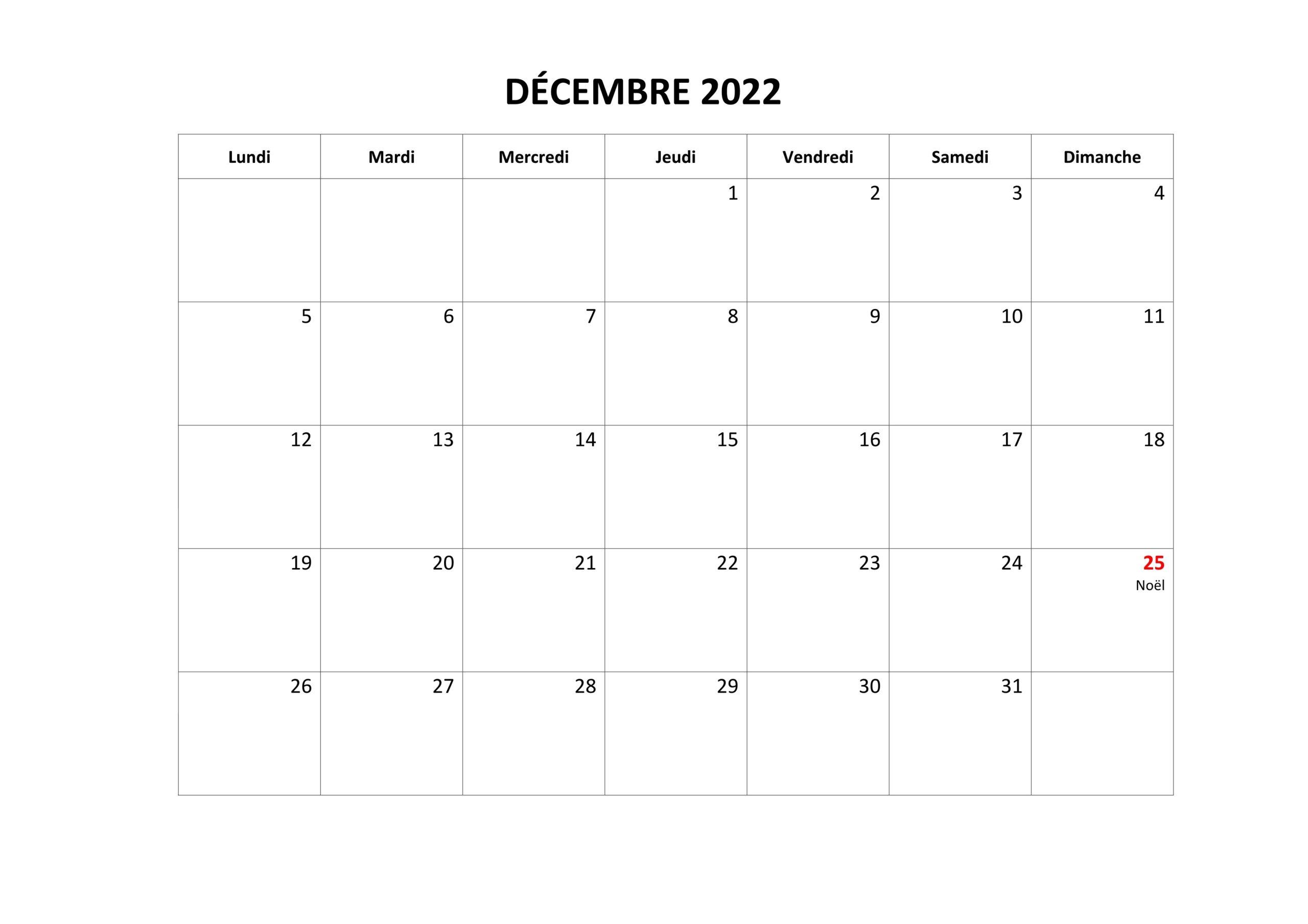 Calendrier Decembre 2022 PDF