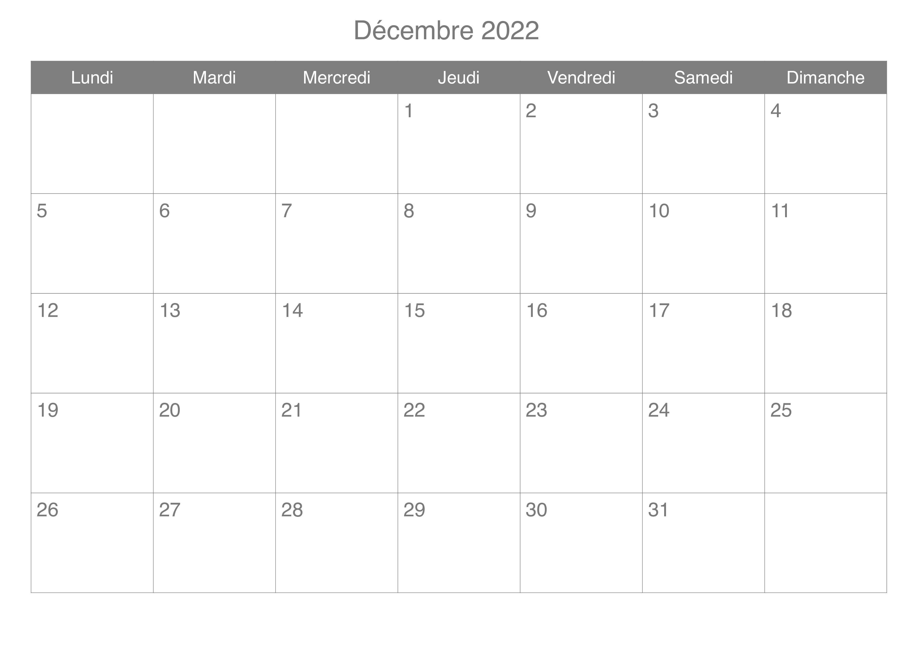 Calendrier Decembre 2022