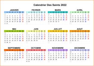Calendrier Des Saints 2022 Imprimables