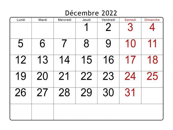 Decembre 2022 Calendrier jours fériés