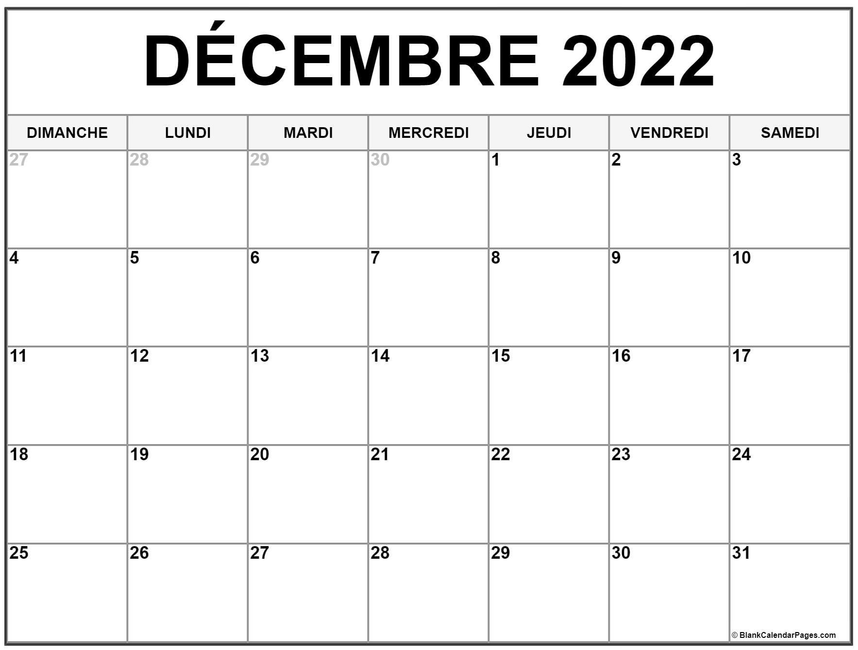 Decembre Vacances 2022 Calendrier