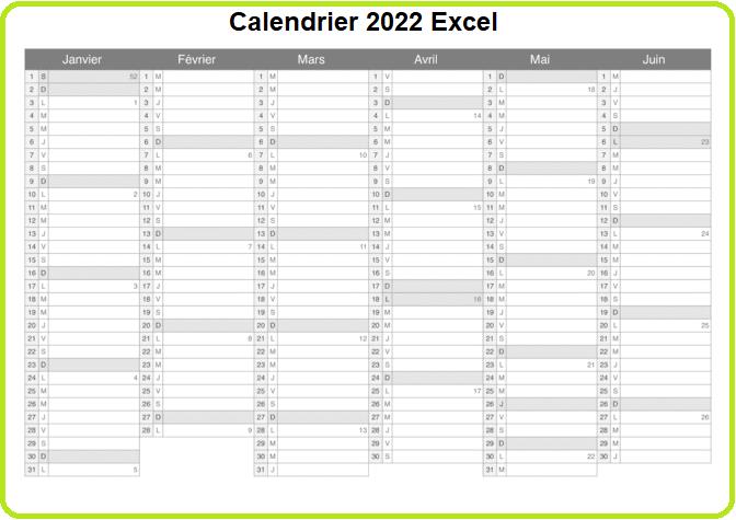 Calendrier 2022 Excel Pratique