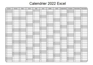 Calendrier 2022 Excel Vacances Scolaires