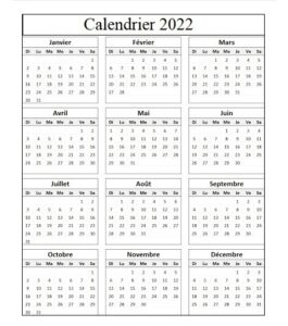 Calendrier Avec Les Fetes 2022
