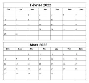 Calendrier Février Mars 2022
