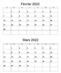 Calendrier Février Mars 2022 à imprimer