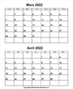 Calendrier Mars Avril 2022